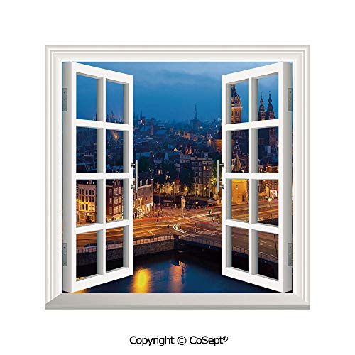 SCOXIXI Artificial Window Wall Applique Landscape Wall Decoration,Night View of Amsterdam Famous Landmark European Urban Travel Architecture,Window Decorative Decals Interior(25.86x22.63 inch)