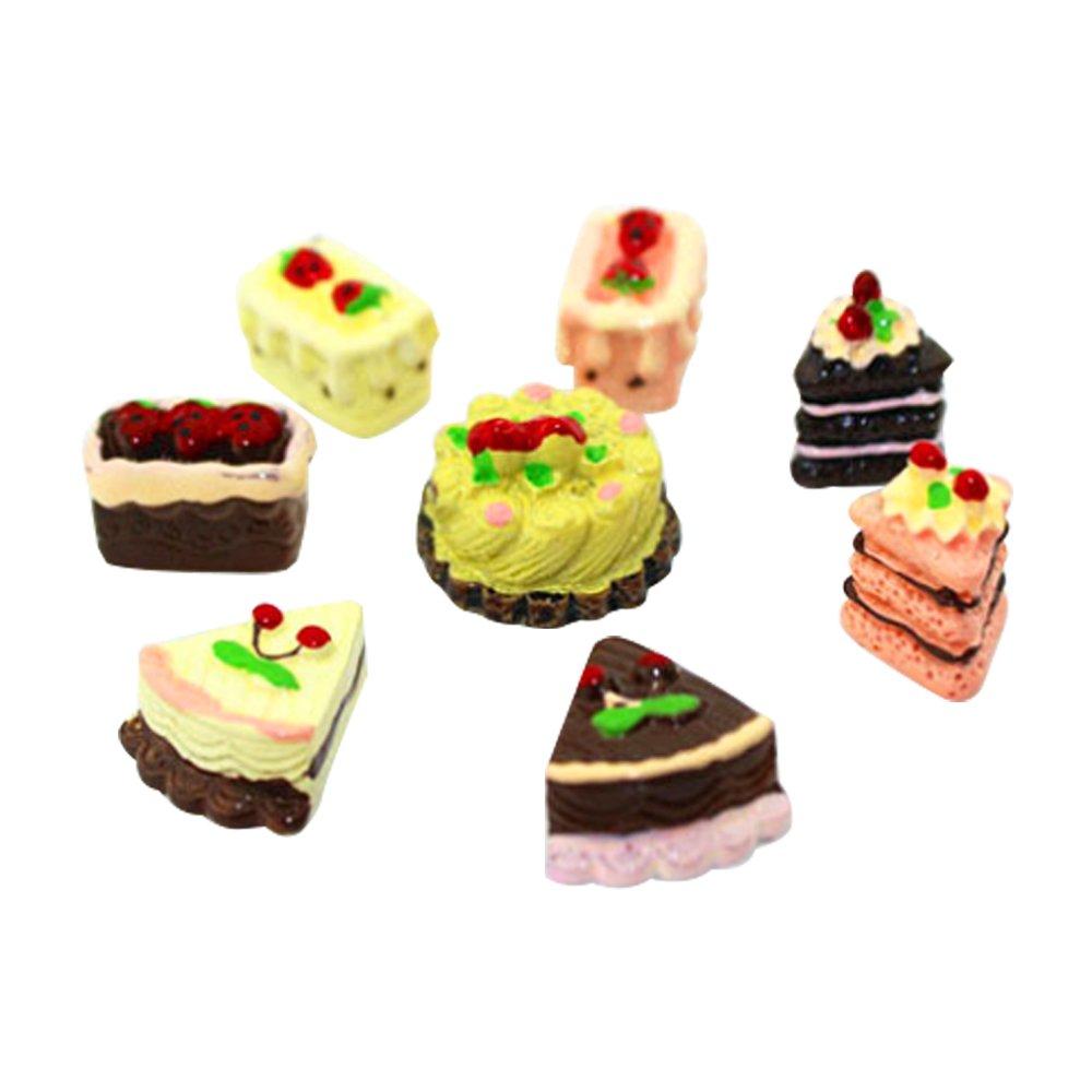 Rrunzfon 8Pcs Molde Pastel para Doll Hourse Juguete Miniatura para Casa de Muñecas Miniature