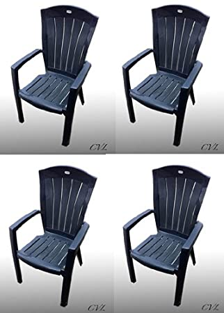 SET OF 4 GARDEN ARM CHAIRS IN BLUE. HIGH BACK RESIN PATIO FURNITURE  ARMCHAIRS