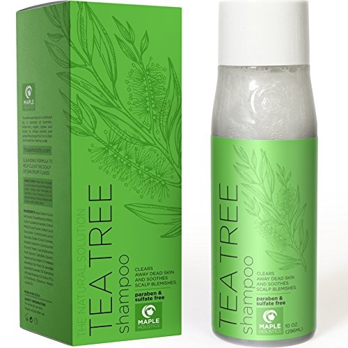 Natural Tea Tree Oil Shampoo for Dandruff and Itchy Scalp - Sulfate Free Deep Cleansing Hair Care for Men and Women - Essential Oils Rosemary Pure Lavender - Sensitive and Color Treated Hair - 10 oz