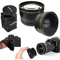 I3ePro 58mm .43x Wide Angle Lens + 2.2x Telephoto Lens for 58mm Thread Lenses for Canon Lenses