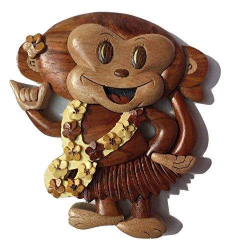 Tiki Wooden Handmade Christmas Ornament Hula Monkey w/Lei & Shaka Design ()