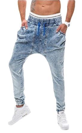 dahuo Pantalones Vaqueros de Cintura elástica con cordón ...
