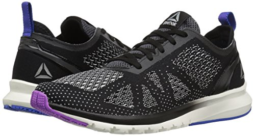 Reebok Women's Print Smooth Clip Ultk Track Shoe, black/chalk/vicious violet/vital blue, 10 M US by Reebok (Image #6)