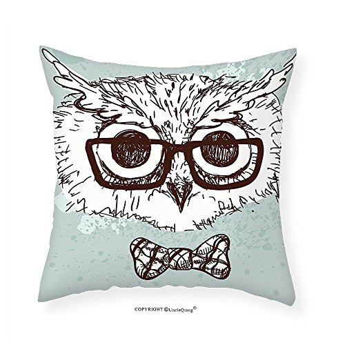 VROSELV Custom Cotton Linen Pillowcase Owl Hand Drawn Hipster Geek Bird with Glasses Bow Tie Fun Doodle Sketch for Bedroom Living Room Dorm Almond Green White Dark Brown - August Alsina Glasses