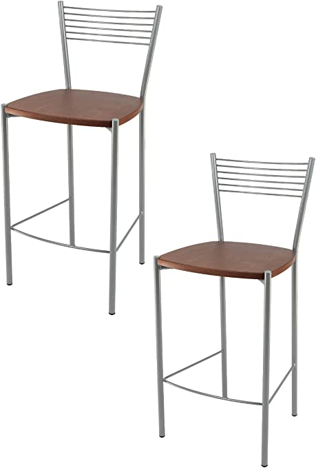 Set 2 sgabelli Moderni e Design Elegance per Cucina e Bar con Struttura in Acciaio Verniciata Color Alluminio e Seduta in Legno Colore ciliegio Tommychairs