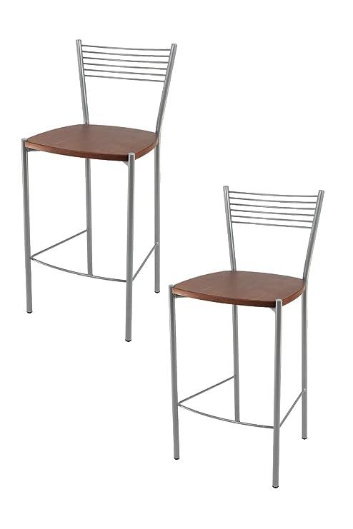 Tommychairs - Set 2 sgabelli Moderni e Design Elegance per Cucina e Bar,  con Struttura in Acciaio Verniciata Color Alluminio e Seduta in Legno  Colore ...