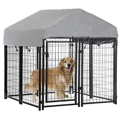 BestPet Welded Wire dog Kennel Heavy Duty Playpen Included a Roof and Water-Resistant Cover(4'x4'x53')