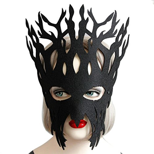 Party Masks Masquerade, Elevin(TM) Women Sexy Masquerade Lace Mask Catwoman Halloween Cutout Prom Party Mask Accessories (Black) -