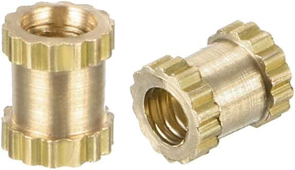 M2 x 4 mm L x 3.2 mm OD Female Threads Brass Insert Nuts Pack of 100 knurled Threaded Insert