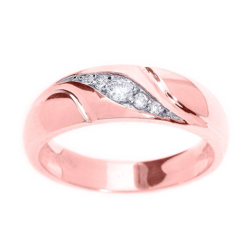 Men\'s 14k Rose Gold 5-Stone Swirl Set Diamond Wedding Band | Amazon.com