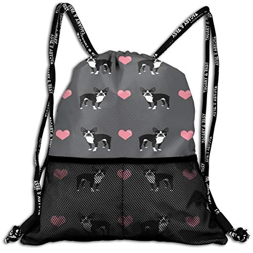 - Polyester Drawstring Bag Theft Proof Water Resistant Large Size Daypack Large Capacity For Basketball, Volleyball, Baseball, Sports Workout Gear (Boston Terrier Love Hearts)