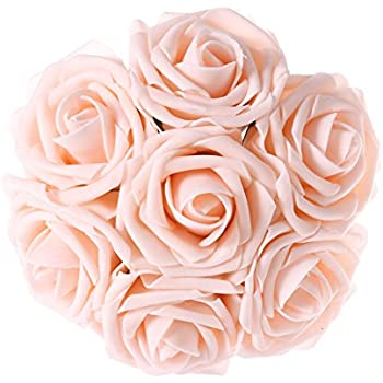 Amazon wedding bouquets bridal silk flowers rose gold blush lings moment artificial flowers blush roses 50pcs real looking fake roses wstem for diy mightylinksfo