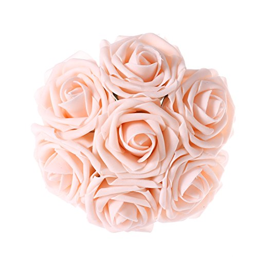 Ling's moment Artificial Flowers 50pcs Blush Real Looking Artificial Roses w/Stem for Wedding Bouquets Centerpieces Party Baby Shower Decorations DIY