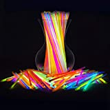 "Glow Sticks Bulk 200 Count - 8"" PartySticks Brand Premium Glow In The Dark Light Sticks - Makes Tons of Glow Necklaces and Glow Bracelets (2 Tubes of 100)"