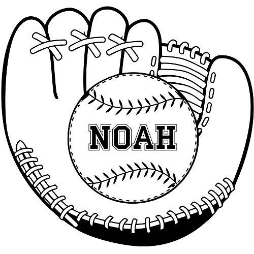 Baseball Glove With Ball Custom Name For Noah Sticker Boys Room Personalized Gift Sports Fans Decorative Wall Vinyl Decal Customized Mural Sporting Art Print Teen-Boys Interior Decoration Poster Decor