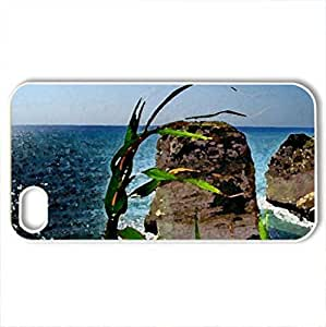 amazing rock towers off seacoast hdr - Case Cover for iPhone 4 and 4s (Beaches Series, Watercolor style, White)