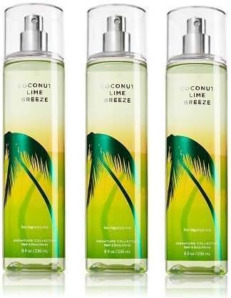 Coconut Lime Breeze Bath & Body Works Lot of 3 Fine Fragrance Mist Full Size