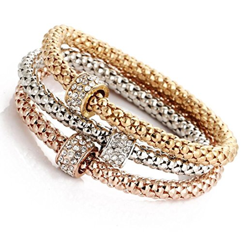 Swyss 3pcs Gold Silver Rose Gold Rhinestone Bangle Jewelry Set Charm Women Bracelet Popcorn Corn Hand Chain (Circles)