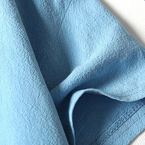 Courtes Unicolore Blouse Mode T Tops Pullover V Grande Taille Bleu Casual shirt Manches À lin Ciel Tee Hommes Été Day Liquidation Coton Col Et Lin Sweat ZBqxY6H
