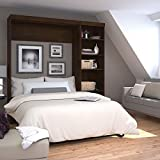 """Bestar Pur 84"""" Full Wall Bed with 5-Shelf Storage Unit in Chocolate"""