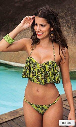 Flounced Bra M Swimsuit green Bikinis Bikini Printing xwfRUA