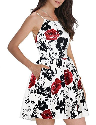 Small Womens Spaghetti - FANCYINN Women Sexy Spaghetti Strap Rose Floral Print Short Mini Wedding Party Dress L
