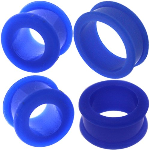 0 00 gauges Ear Plugs Flesh Tunnels Silicone Steel Screw Double Flared Stretcher Taper 5/8 gauges 5/8 16mm by MoDTanOiz - Flesh tunnels (Image #5)