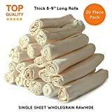 "Baxter Boy Premium Rawhide Roll for Dogs Natural Chews Extra Thick Treat – Large 8""– 9"" (20 Pack)"