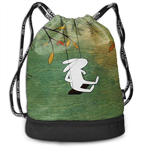 Rabbit Playing Drawstring Bag Rucksack Shoulder Bags Travel Sport Gym Bag Print - Yoga Runner Daypack Shoe Bags with Zipper and Pockets (Cards Wedding Personalized Playing Favors)