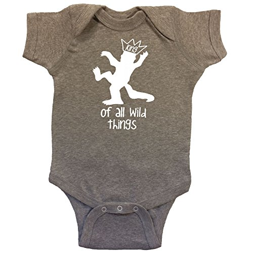 Max King Of The Wild Things (King of all Wild Things Baby Bodysuit White Vinyl (12 months, Heather)