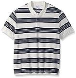 Lacoste Men's Short Sleeve Striped Heavy Wintery Caviar Pique Polo, Flour/Navy Blue, L