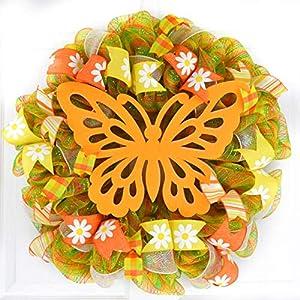 Spring Butterfly Wreath   Summer Mesh Front Door Decor   Orange Yellow Green 16