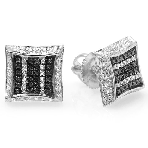 0.10 Carat (ctw) White & Black Round Diamond Micro Pave Setting Kite Shape Stud Earrings 1/10 CT