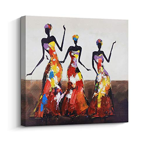 (Abstract Series African American Dance Afro Women Black Art Oil Painting for Livingroom Wall Art,Hand-painted Artwork Thick Canvas Home Wall Decoration, Gallery wrapped Pine Wooden Frame Ready to Hang)