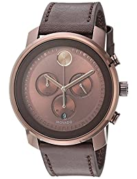 Movado Men's Swiss Quartz Stainless Steel and Leather Casual Watch, Color:Brown (Model: 3600420)