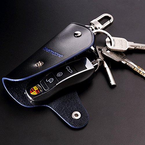 Teemzone Unisex Real Leather Key Bag Key Chain Case Car Key Holder (Black with blue side) Photo #7
