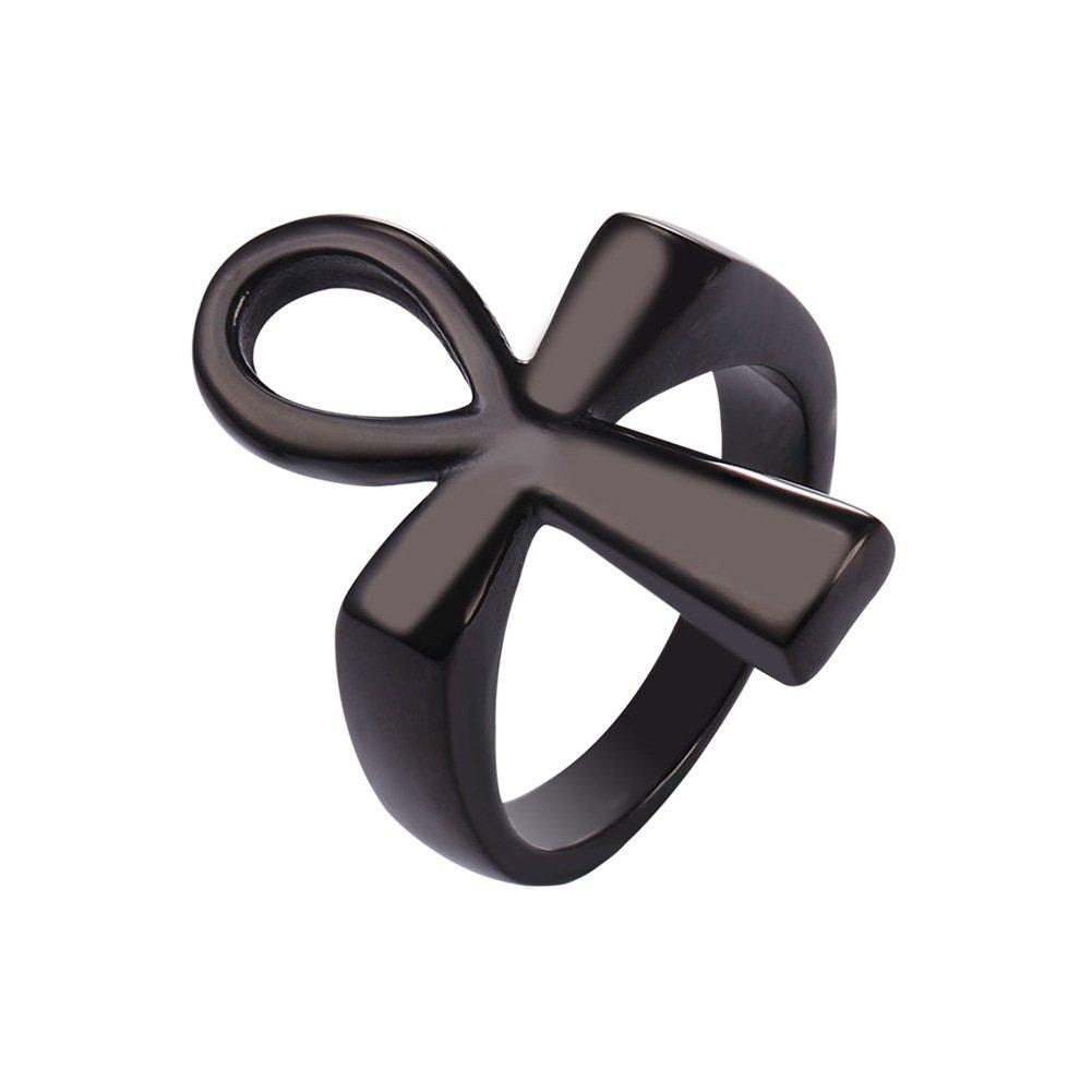 U7 Stainless Steel Cross Ankh Ring (Size 7 to 12) U7 Jewelry U7 GR2590