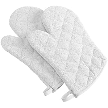 DII 100% Cotton, Terry Oven Mitt Set Machine Washable, Heat Resistant, 7 x 13, White, 2 Piece