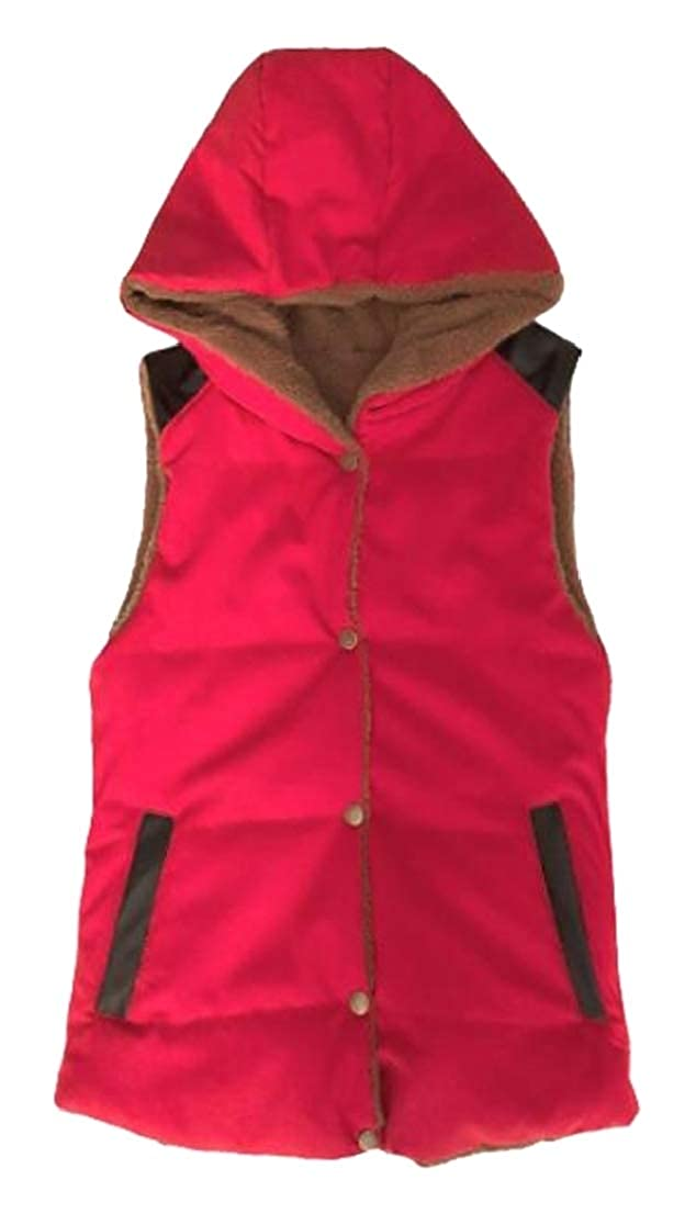 Esast Women's Autumn Lightweight Front Button Quilted Hooded Puffer Vest