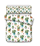 Helengili 3D Digital Printing Bedding Set Cactus Barbary Fig Cereus Cacti Bedding Bedclothes Duvet Cover Sets Bedlinen 100 Percent Microfiber Present ,California King