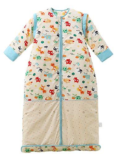 Chilsuessy Winter 2.5 Tog Kinder Schlafsack mit abnehmbaren Ärmeln Bio Babyschlafsack für Jungen und Mädchen von 1 bis 10 Jahre alt (M/Koerpergroesse 70-100cm, Blau Tiere)