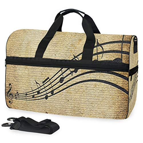 Gym Bag Music Note Duffle Bag Large Sport Overnight Yoga Bag for Men Women