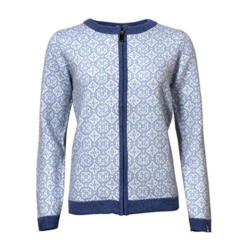 ICEWEAR HROPNN Women's Wool Sweater Norwegian Design Full Zip Angora Blend Sweater Light and Comfortable Long Sleeve Outdoor   Blue - XL (Angora Cardigan Sweater)