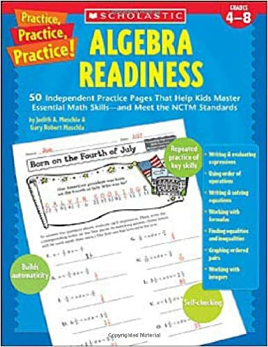 Printables Algebra Readiness Worksheets amazon com practice algebra readiness grades 4 8 0078073529612 gary robert muschla judith book