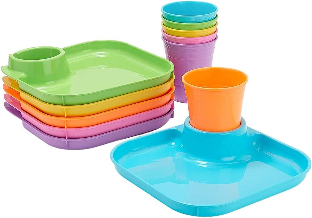 GREATPLATE 6 Square Plates and 6 Cups (Brights) 12 Piece Food Tray and Beverage Holder Serving Set for Parties, Reusable Heavy Duty Plastic, BPA Free