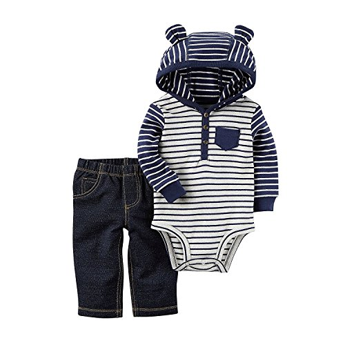 Baby Boys Outfits (Carter's Baby Boys' 2 Piece Hooded Bodysuit Pants Set 6 Months)