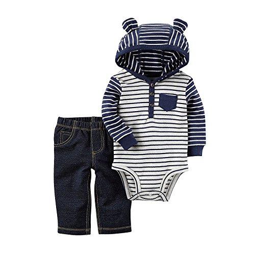 Carter's Baby Boys' 2 Piece Hooded Bodysuit Pants Set 12 Months (Body 2 Piece Set)