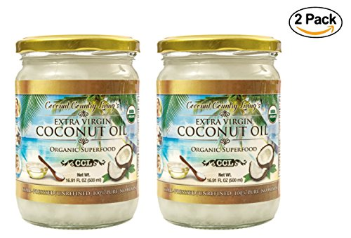 Organic Coconut Oil, Extra Virgin Unrefined Cold-Pressed, 2 Pack of 16.91 oz for Cooking, Hair and Skin Lotion (Tropical Traditions Coconut Oil)