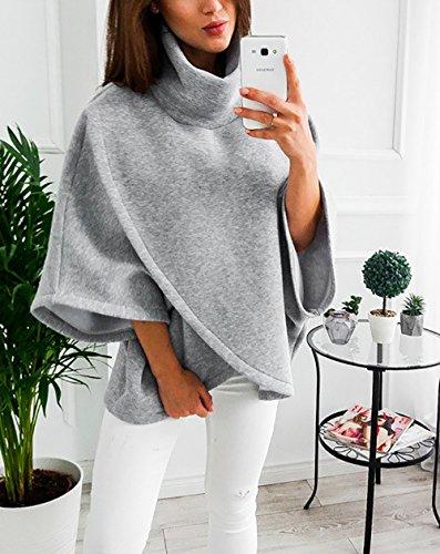 Femme Shirt Manches Pull a Sweat Jacket Veste Longues Haut Col Yieune Pull Gris Chic Manteau Capuche Oversize Over z5qxP5tw